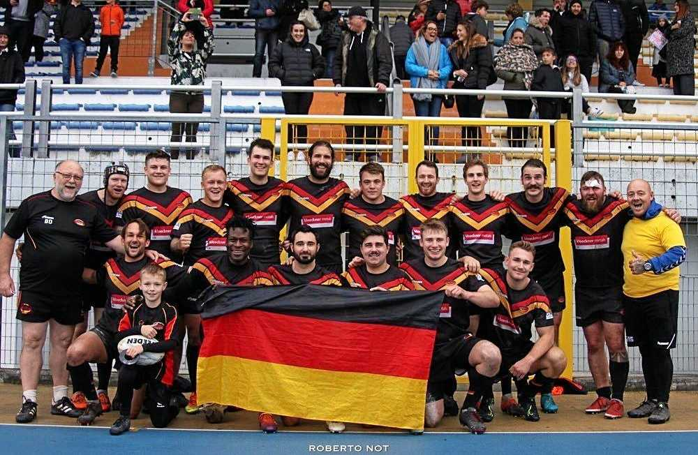 BIG ACHIEVEMENT: Former Grafton Ghosts halfback Brad Billsborough with the German international rugby league side after beating Italy in a test match in Venice.