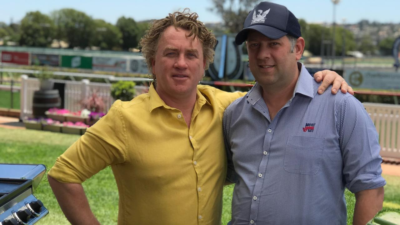 Celebrity chef Adrian Richardson and Mort & Co's Ed Labrie at Clifford Park Racecourse for filming of The Chef's Secret.