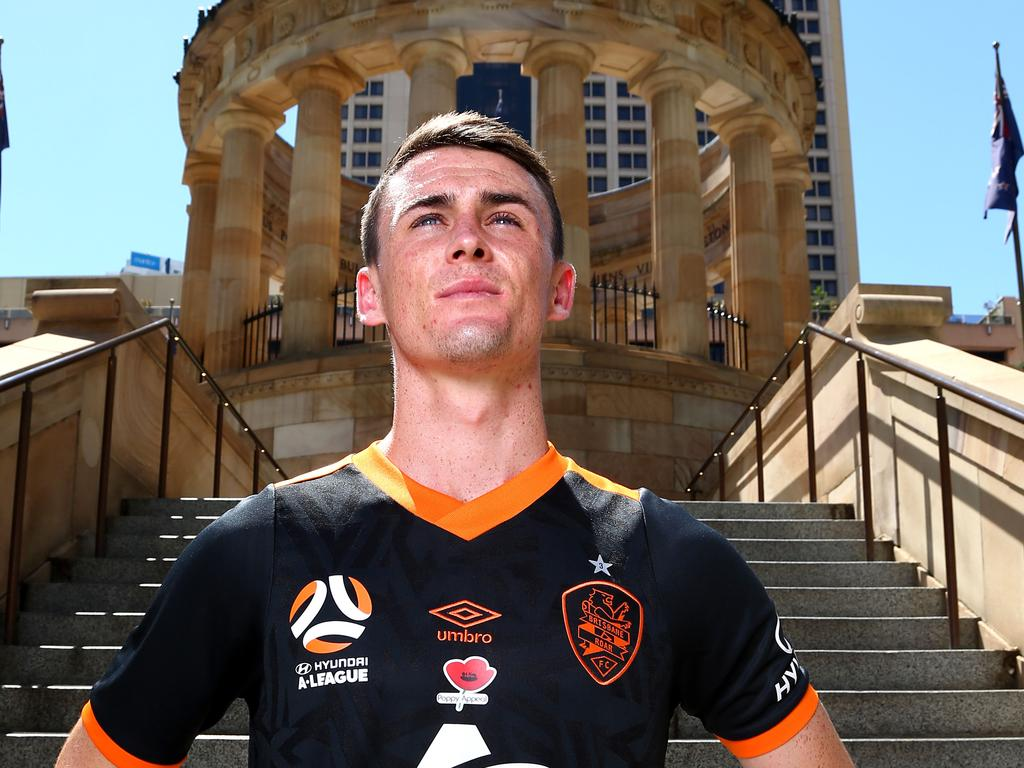 Brisbane Roar striker Dylan Wenzell-Halls wearing the club's special Remembrance Round kit. Picture: AAP