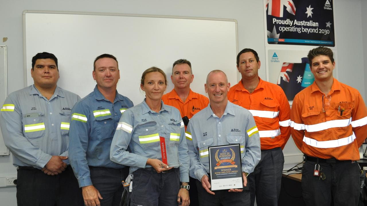 HIGH STANDARD: Raul Rojas, Brett Lindberg, Donelle Parks, Craig Wise, Alan Milne, Ian Jakeman and Dylan Bell from Boyne Smelters Limited, who won the Industry Engineering and Manufacturing award at the 2019 Best in Business Awards.