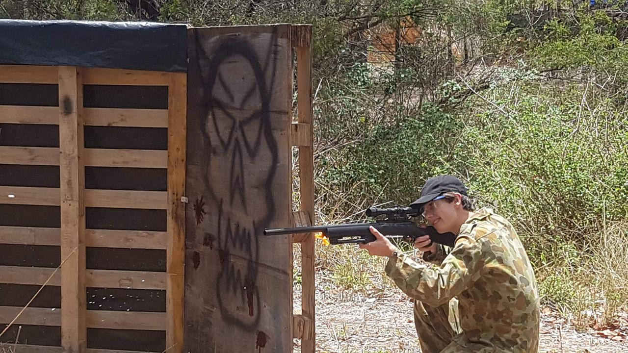 Gracemere's Angus Dakin taking shots with the sniper blaster.