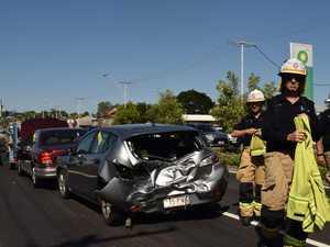 Driver taken to hospital after five vehicle crash