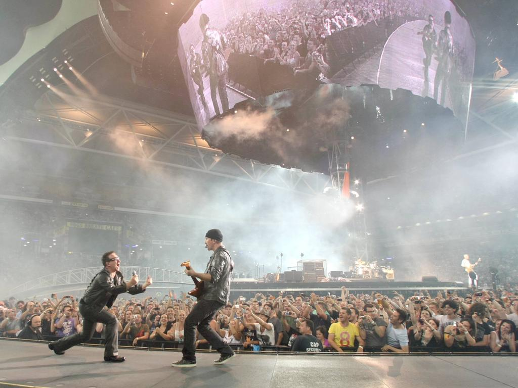 U2 performing in Brisbane at Suncorp Stadium. Picture Peter Wallis