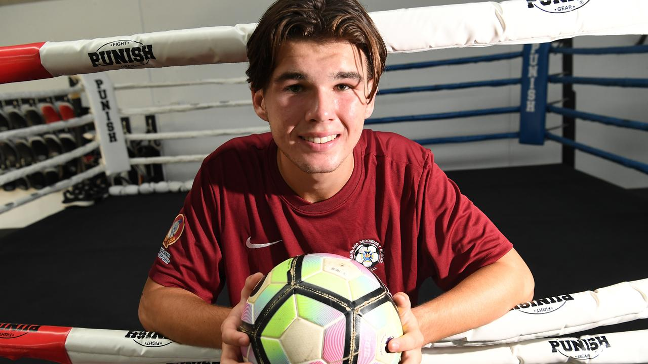William Brown, 17, is a Muay Thai fighter and gained selection in the Australian Schoolboys Football team. He is fundraising for a trip overseas. Photo: Warren Lynam