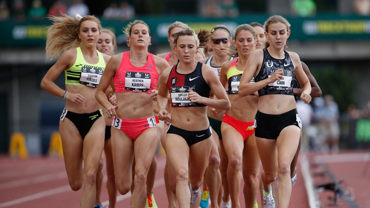 Mary Cain (right) leads the field in the women's 1500m at the 2015 USA Outdoor Track & Field Championships. (Photo by Christian Petersen/Getty Images)