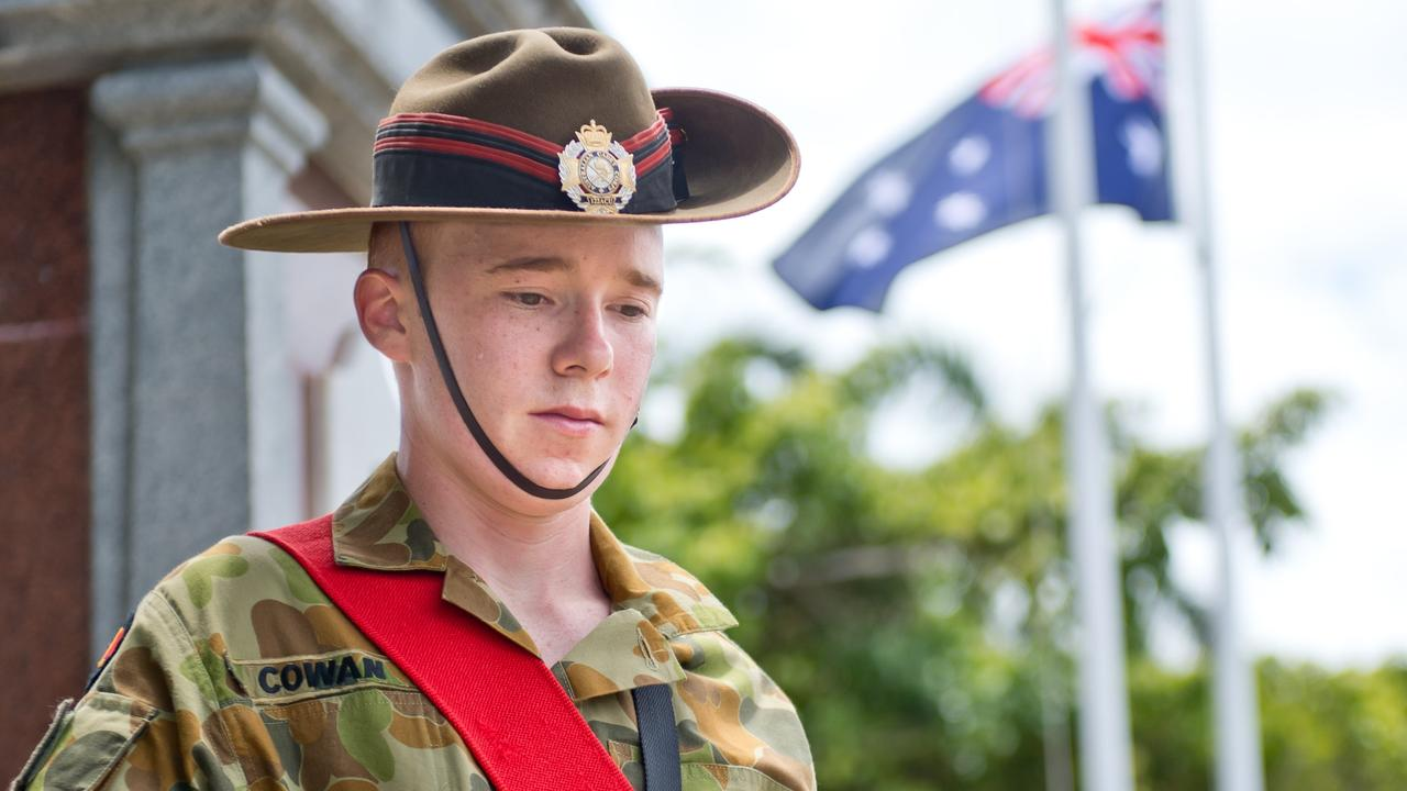 Cadet Sergeant Dean Cowan formed part of the catafalque party at Jubilee Park on Remembrance Day 2018.