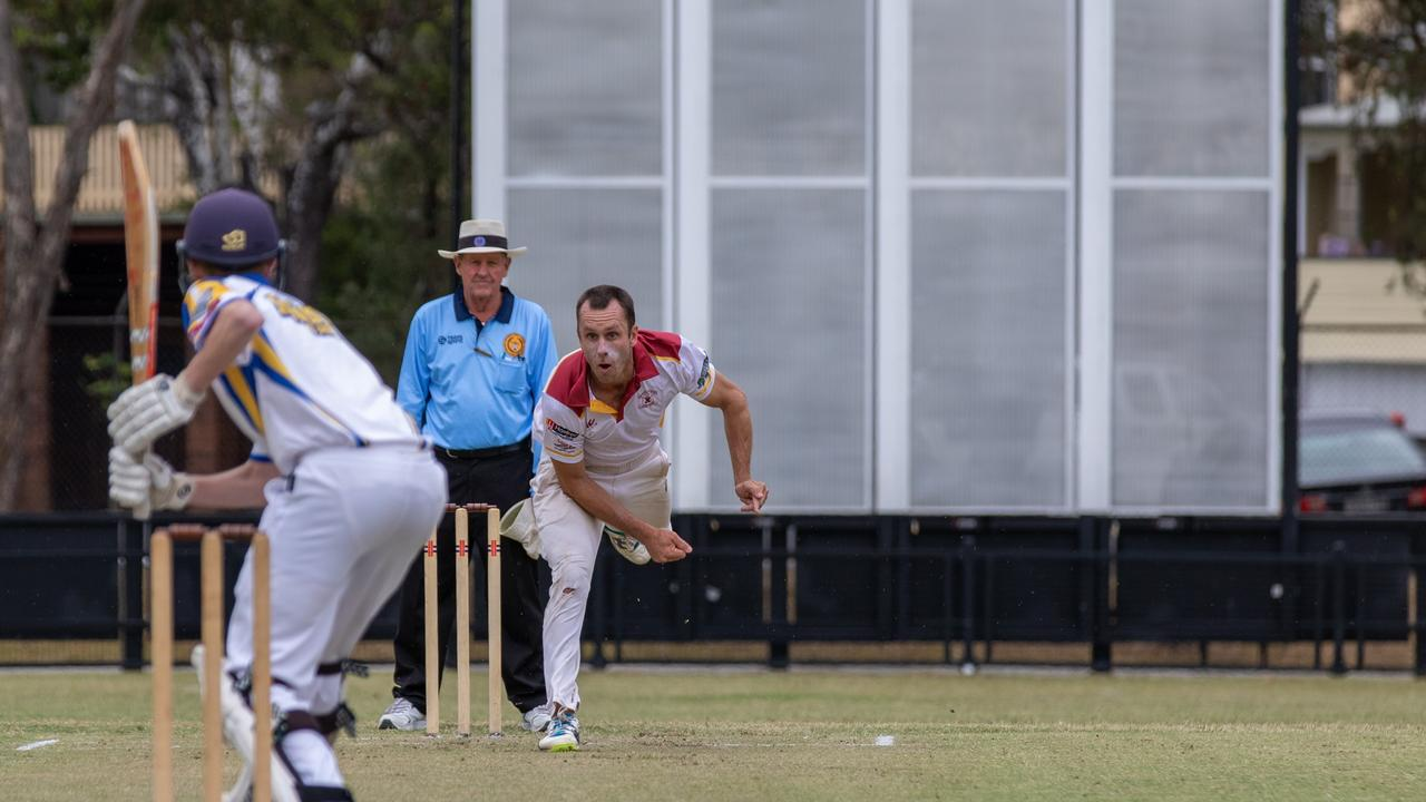 Terry Murphy bowling for Alstonville against Marist Brothers at Oakes Oval, Lismore, in Far North Coast LJ Hooker League cricket. Picture: Ursula Bentley@CapturedAus