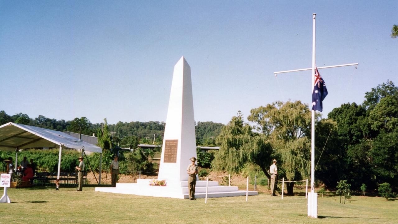 Nambour War Memorial, Quota Memorial Park, in Matthew St, Nambour, ca 1993. The memorial was dedicated on Anzac Day 1993. It is a replica of the original cenotaph which was erected in Coronation Ave in 1927.