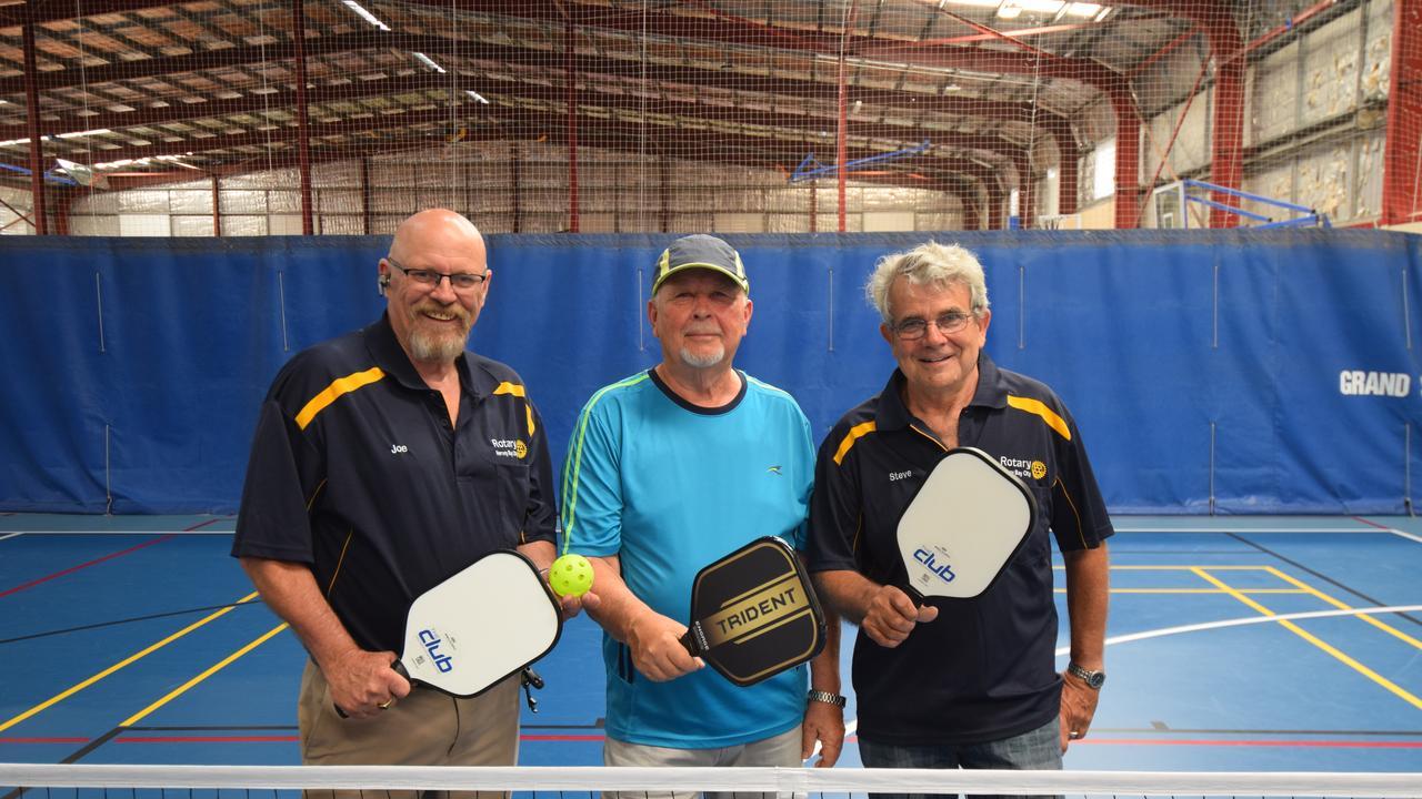 Rotary - Hervey Bay City president Joe Minnegal, CJ Baker and Steve Grainger introduce pickleball to the Fraser Coast.