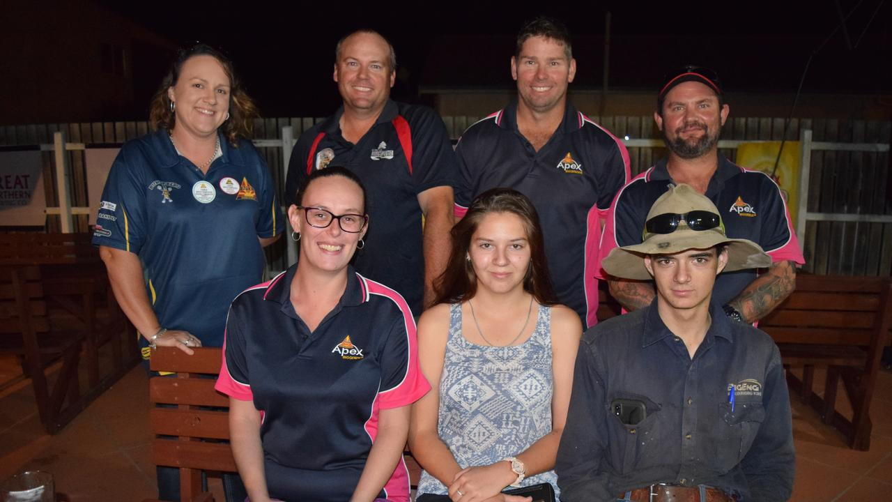 CHRISTMAS FAIR: (Back from left) Region 2 co-ordinator Tara Spotswood with Biggenden Apex Club members Robbie Radel, Phil Sharps and Justin Vicary, and (front from left) Beth Stralow with prospective members Zoe McMeekin and David Geissler. Picture: Erica Murree