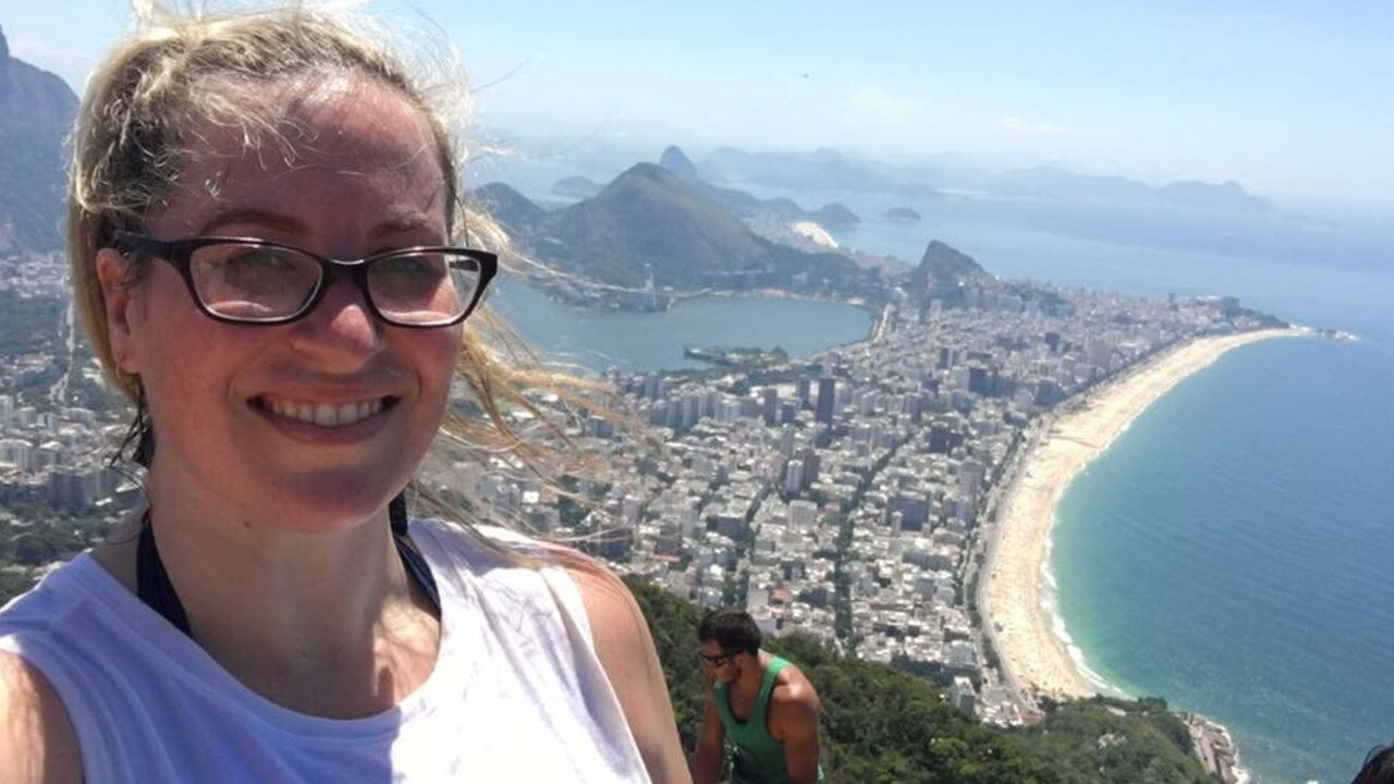 Janessa Ekert at the top of the Morro Dois Irmaos (Two Brothers) hike in Rio de Janeiro, Brazil.