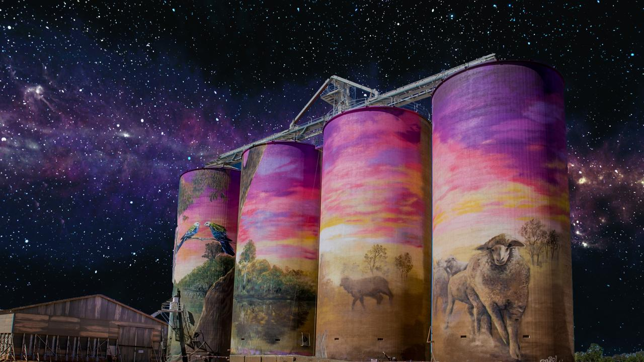 The Thallon silos have been recognised among the best street art in Australia.