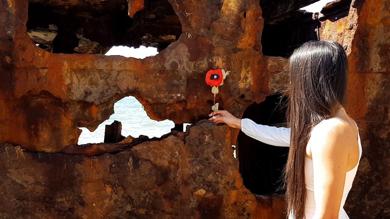 A poppy laying ceremony at the Gayundah Wreck. Picture: Ben McShea/Redcliffe Herald
