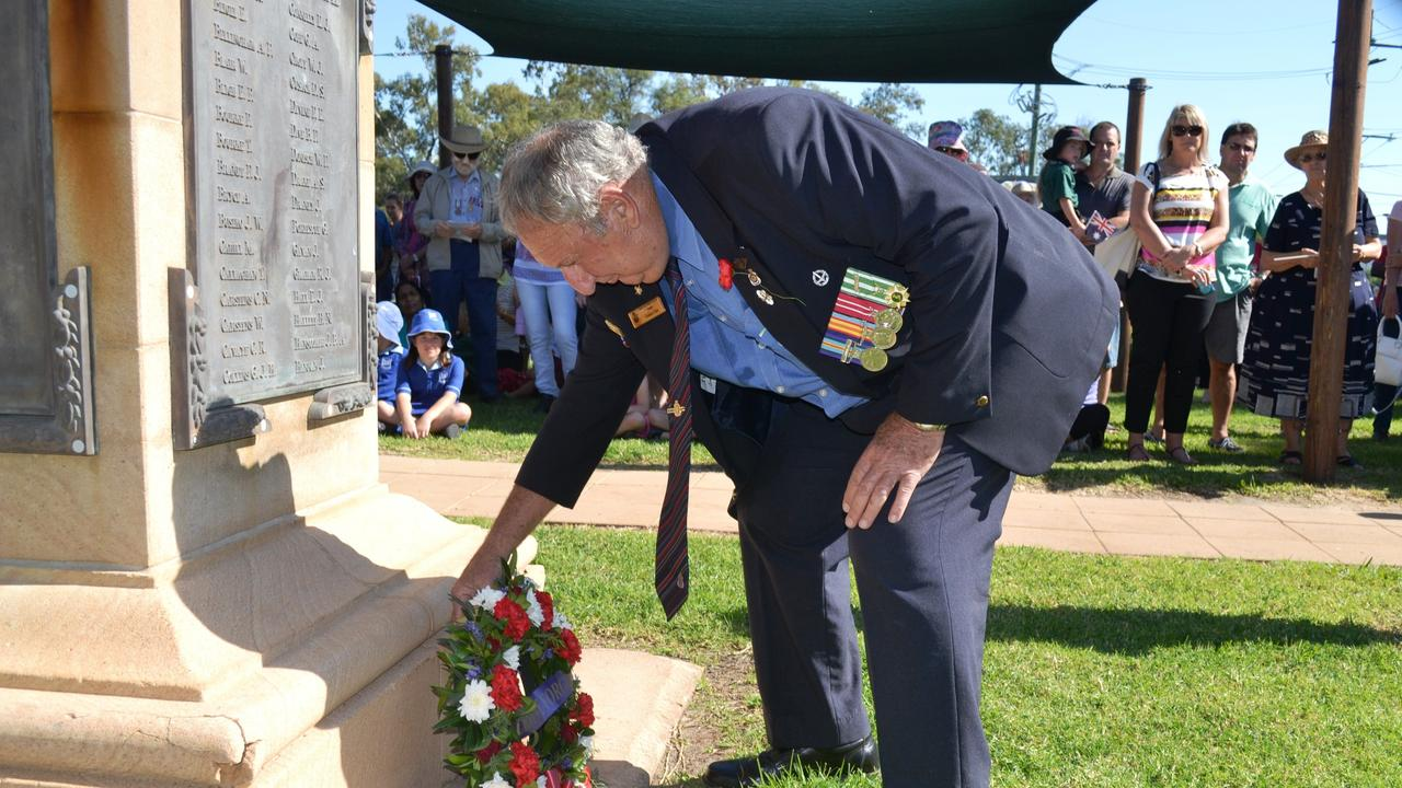 Dalby RSL president Graham Coles commences the wreath laying ceremony at ANZAC Park.Photo Lauren Gallagher / Dalby Herald