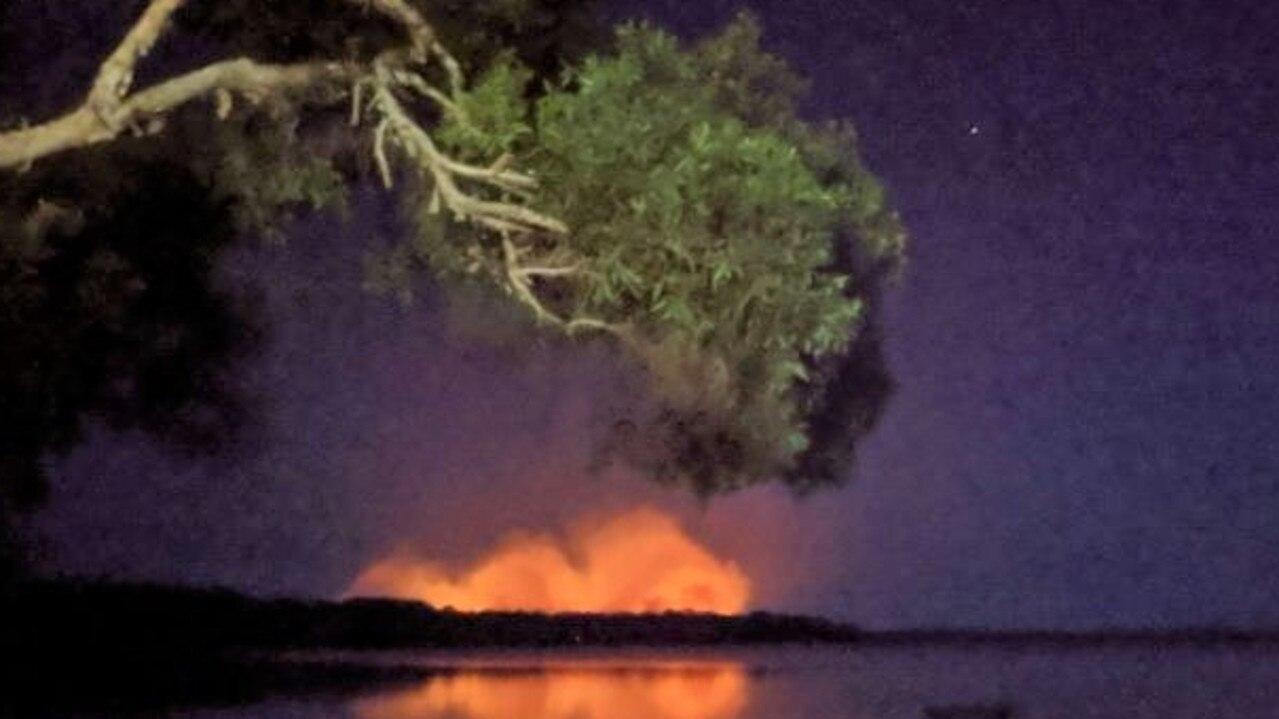 This image was taken earlier in the week when flames threatened Teewah village.