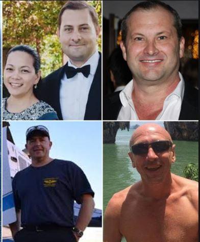 Jocelyn Villanueva and her partner Gregory Miller, Grant Kuhnemann, pilot David Kerr, Jamie Ogden.
