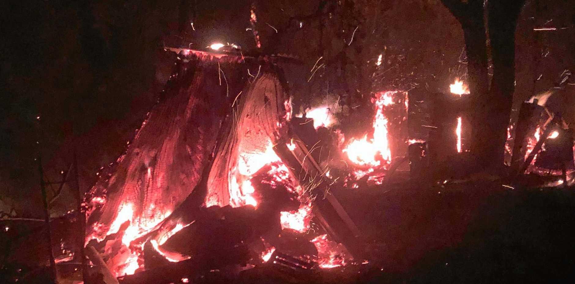 The bush fire near Nymboida about to cross Glens Creek Rd near Nymboida Friday night.