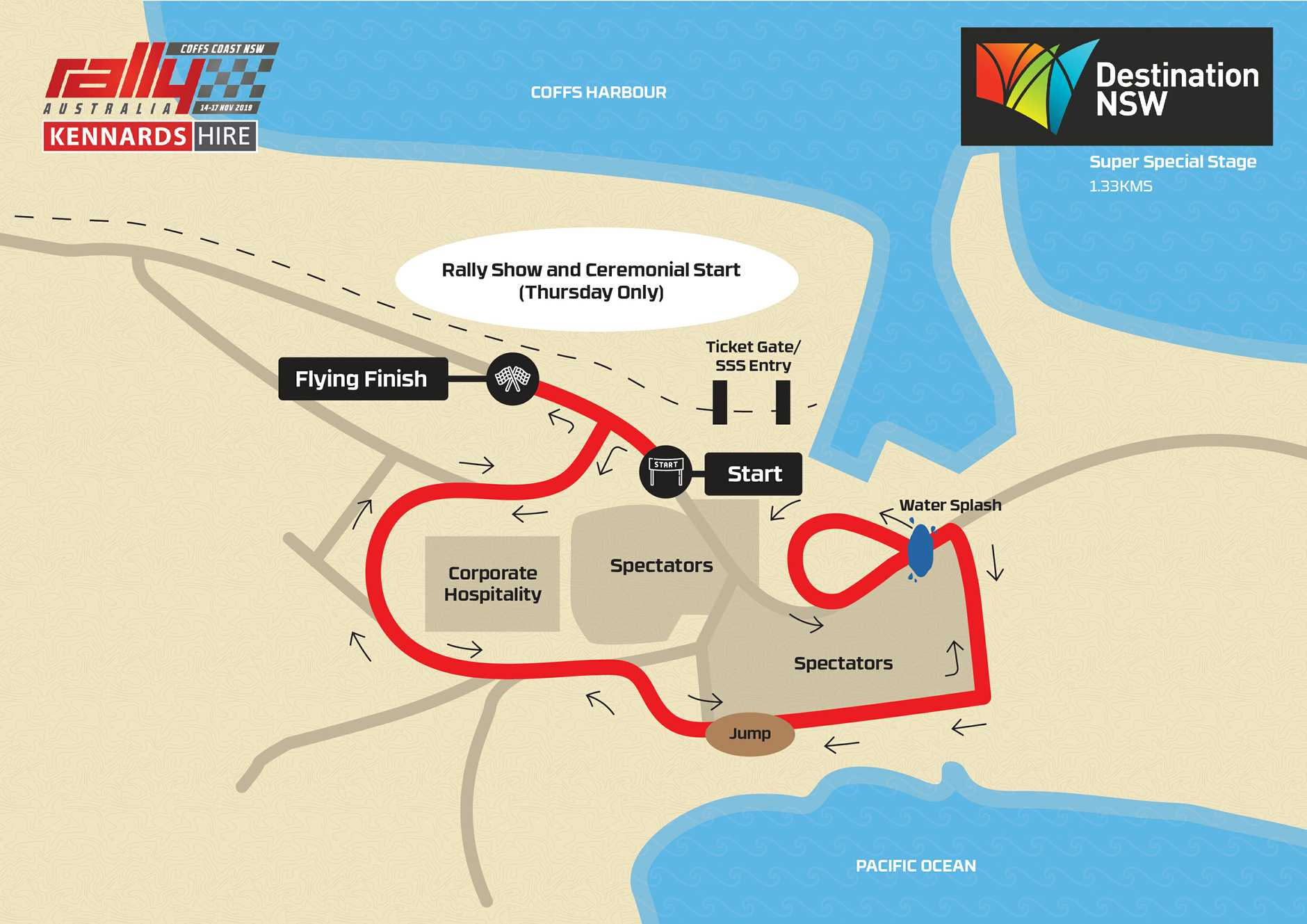 The super special stages of Kennards Hire Rally Australia will be held on the Coffs Harbour Jetty Foreshores with a few modifications this year to improve the spectator vantage points.