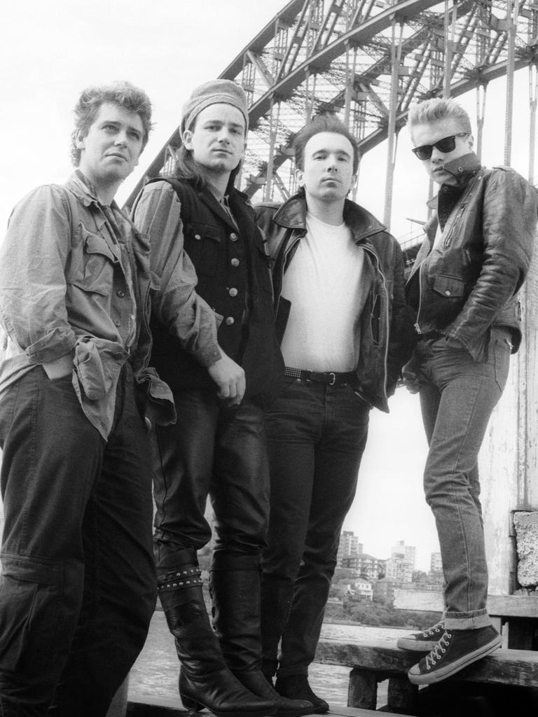The band during their 'Unforgettable Fire' world concert tour in September, 1984 in Sydney. Picture: Getty