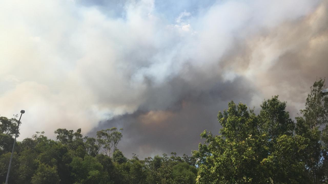 FIRE: A fire burning at Cooroibah. Smoke is visible across the Noosa region. Photo: Caitlin Zerafa