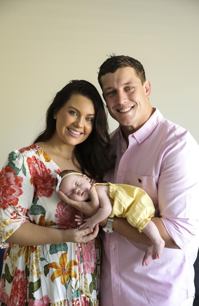 Courtney Thorpe and Jarrod Wallace with their new baby Kennedy Grace Wallace at eight weeks old. Photo Mark Cranitch.