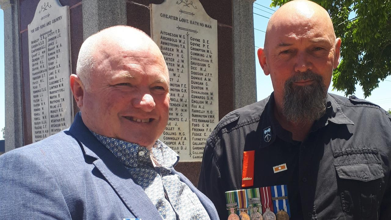 Mackay veteran Donald Laird, with Murray Smith, father of Scott Smith who died in Afghanistan in 2012, will attend Monday's Remembrance Day service in Mackay.