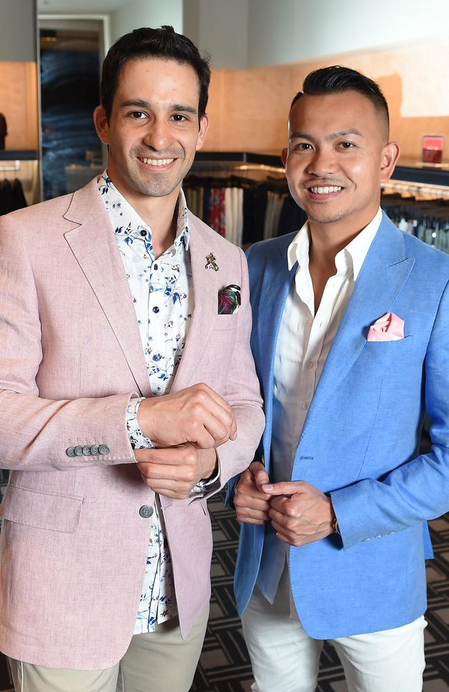 Javier Arturo Piedrahita Solrzano, who is a Fire Safety Consultant living in Melbourne and his dating coach, Andrew Gung at Calibre clothing store in Melbourne Central. Picture: Josie Hayden