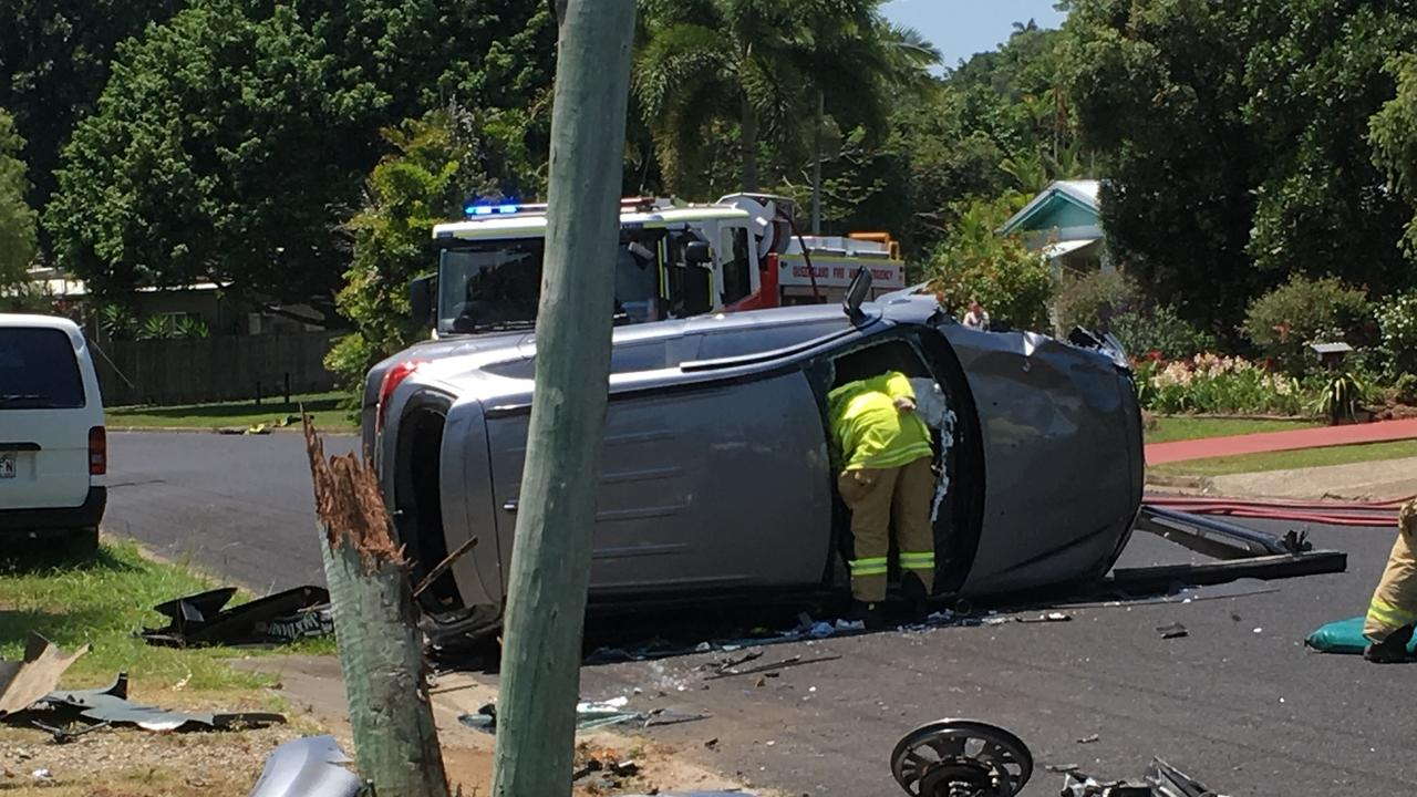 Residents of Dunbar Street in Mooroobool have told how a speeding car crashed in spectacular fashion on November 9, 2019 splitting a power pole in two. PIC: STEWART MCLEAN