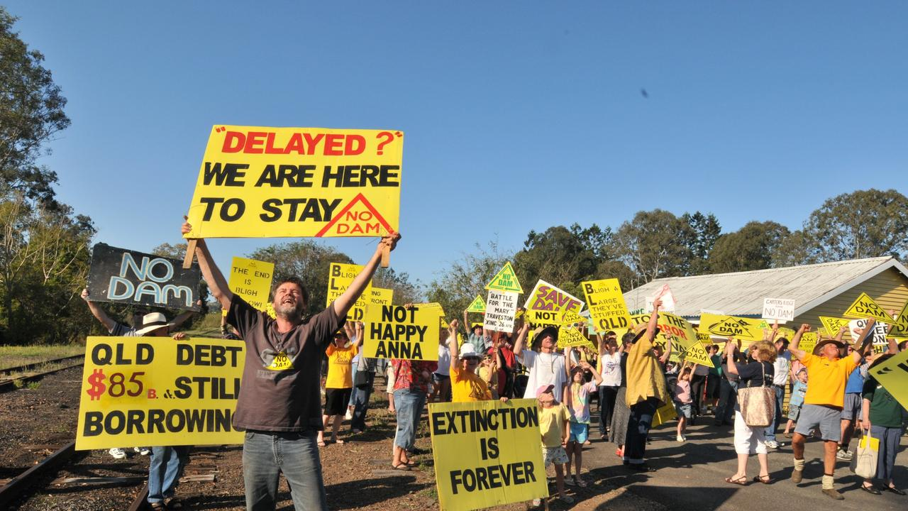 FLASHBACK TO 2009: TRAVESTY: Publisher of the Love Mary book Glenbo Craig protests at Kandanga at the apparent green light the government has given to the Traveston dam project. Photo: John McCutcheon.