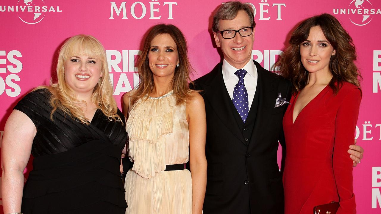 Rebel Wilson, Kristen Wiig, Paul Feig and Rose Byrne at the Bridesmaids premiere. Picture: Lisa Maree Williams/Getty Images