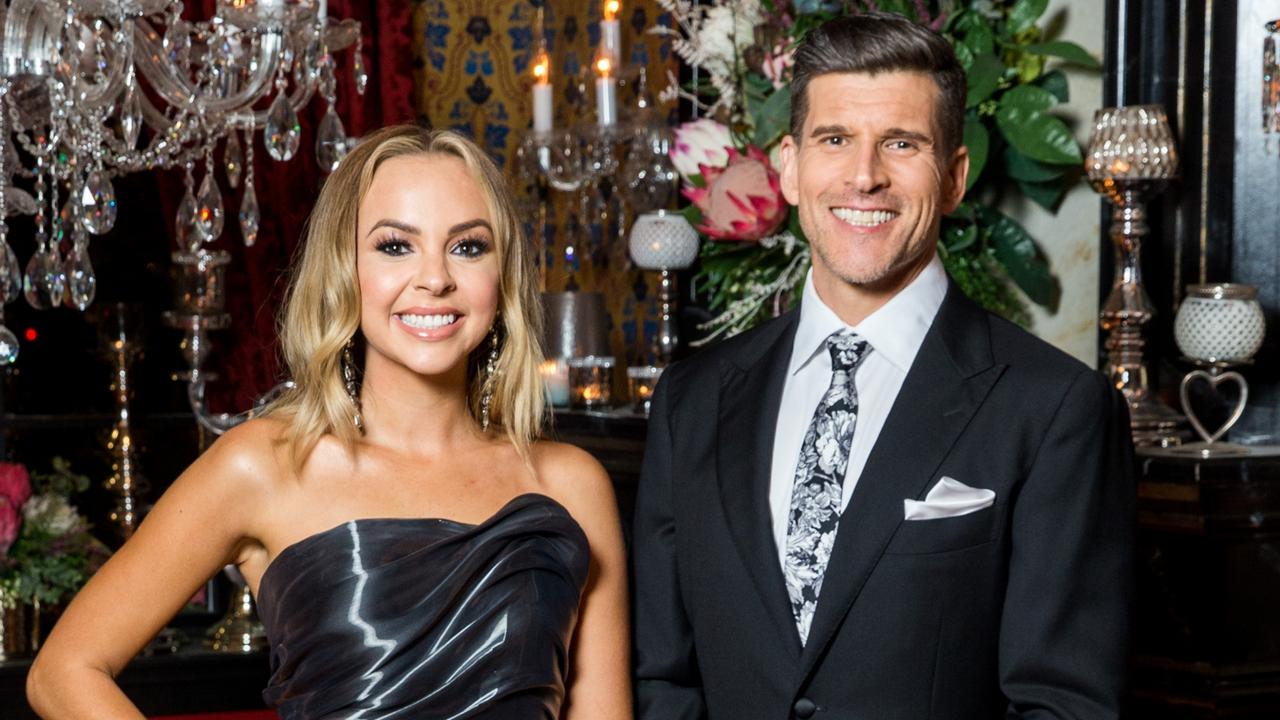 Angie Kent and Bachelorette host Osher Gunsberg. Picture: Channel 10