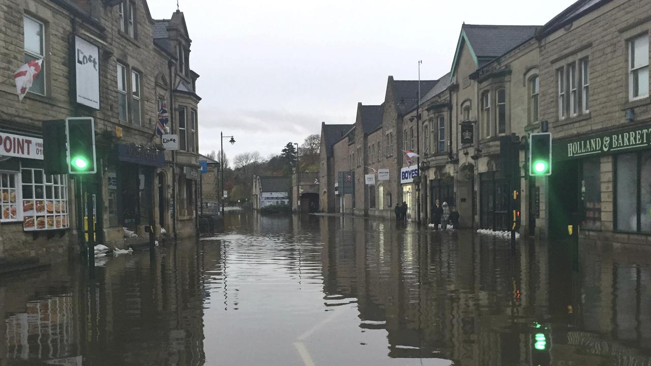 A flooded street in Matlock, northern England. Picture: AP