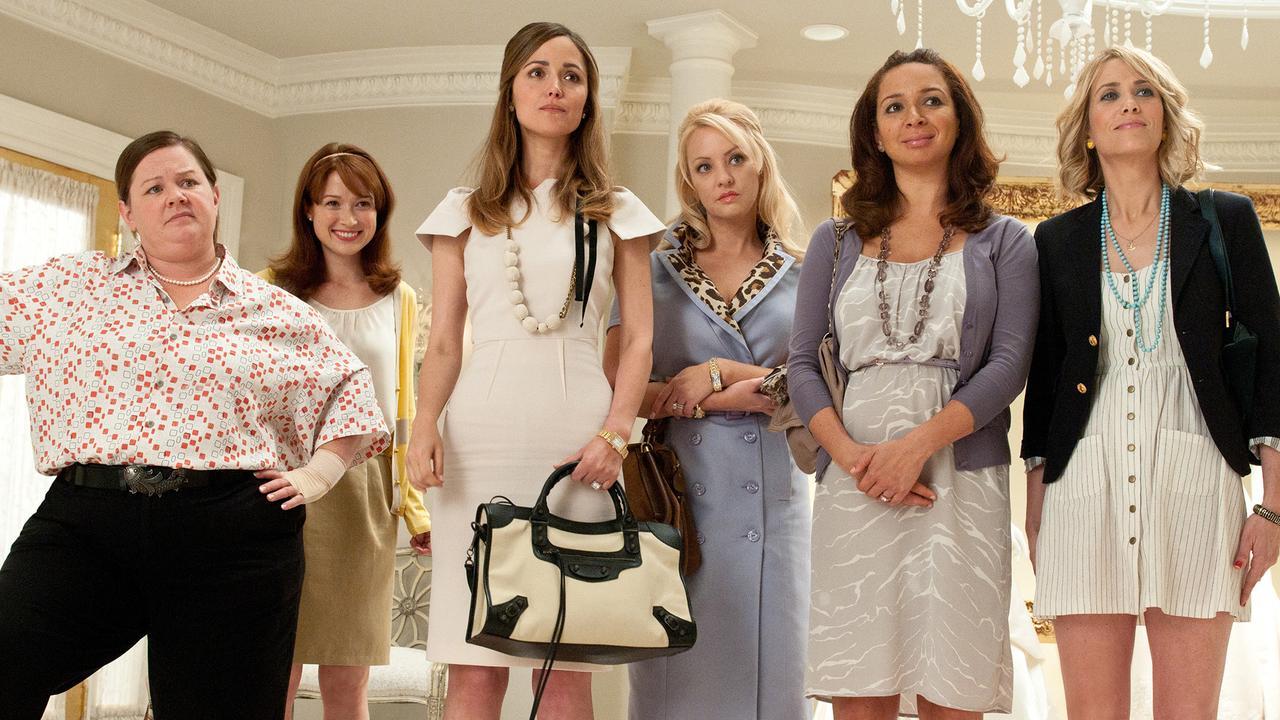 Melissa McCarthy, Ellie Kemper, Rose Byrne, Wendi McLendon-Covey, Maya Rudolph and Kristen Wiig in Bridesmaids.