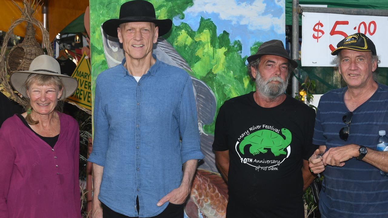 TEN YEARS ON: Glenda Pickersgill with Peter Garrett, Tony Hawkyard and Arthur Gorrie at the Mary River Festival celebrations today, Saturday November 9.