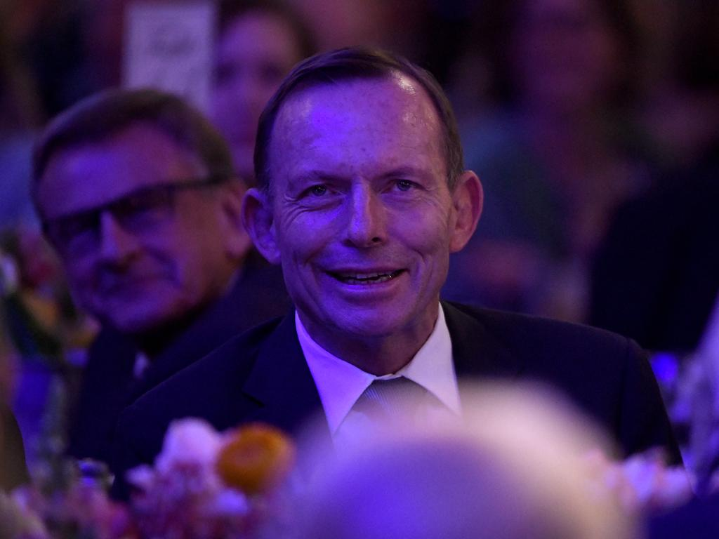 Former prime minister Tony Abbott at his tribute dinner. Picture: AAP's Bianca De Marchi