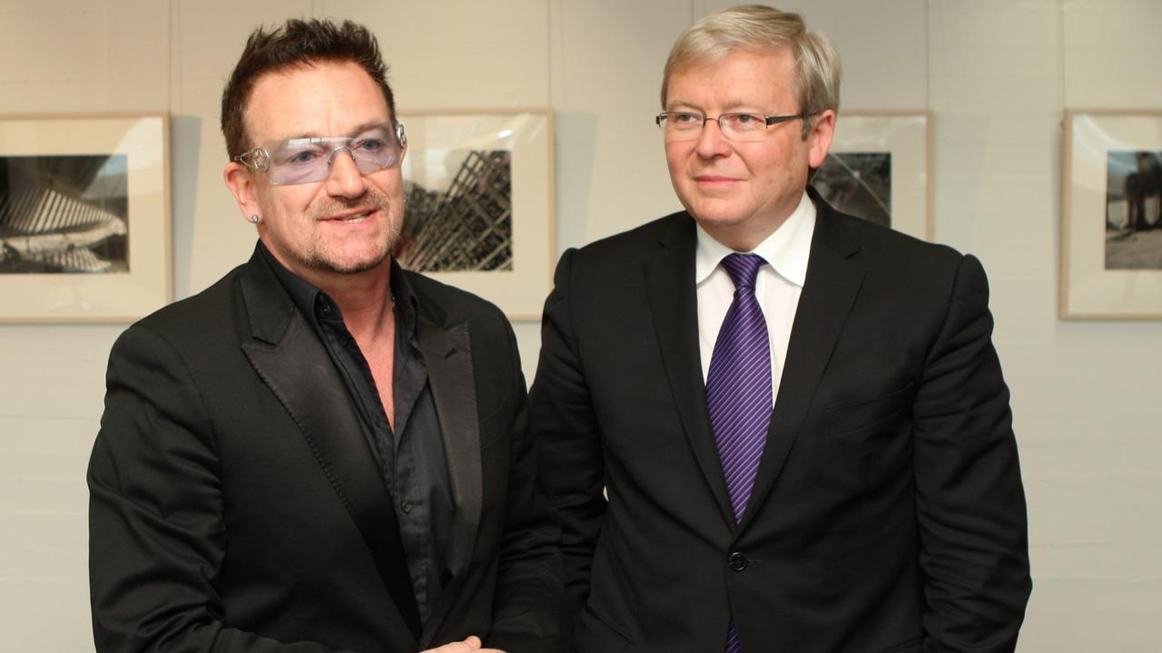 U2's Bono and Australian Foreign Minister Kevin Rudd discuss aid for HIV sufferers at the Sydney Opera House on November 28, 2010. Picture: Getty