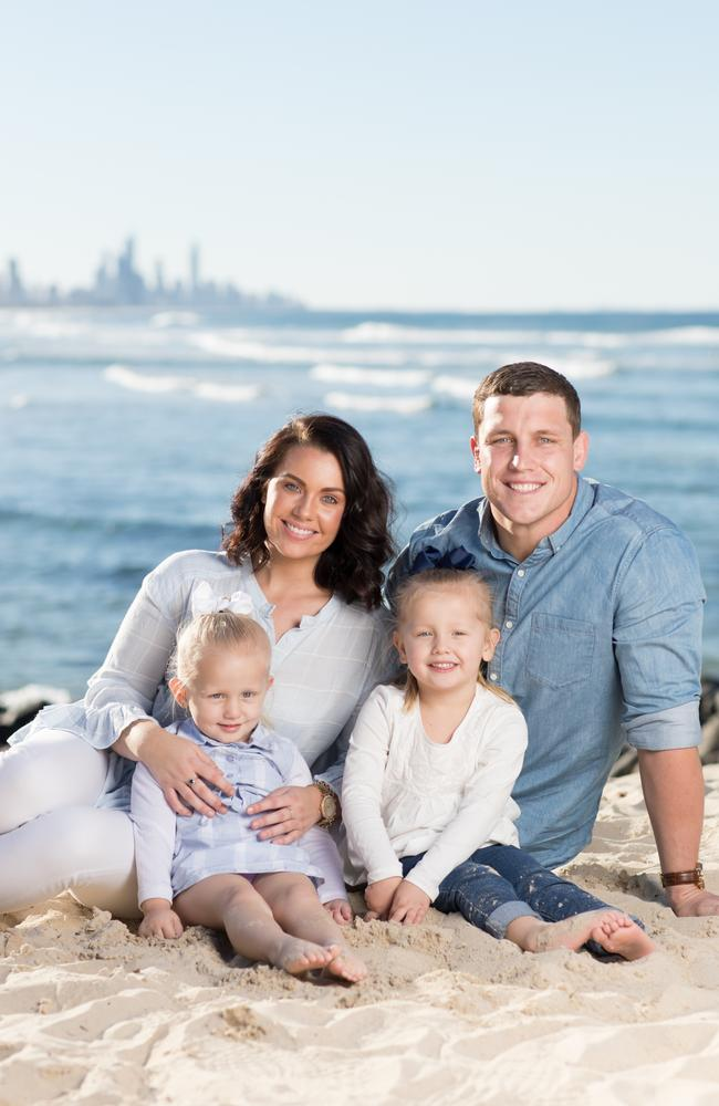Courtney and Jarrod care for his daughters Lara and Peyton every second week. Photo: Luke Marsden.