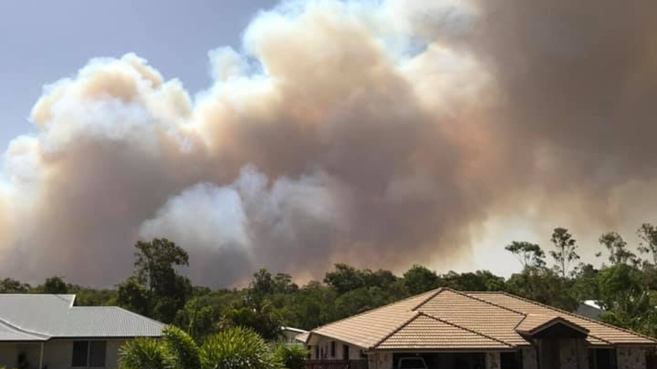 View of the fire burning on the Capricorn Coast near Adelaide Park.