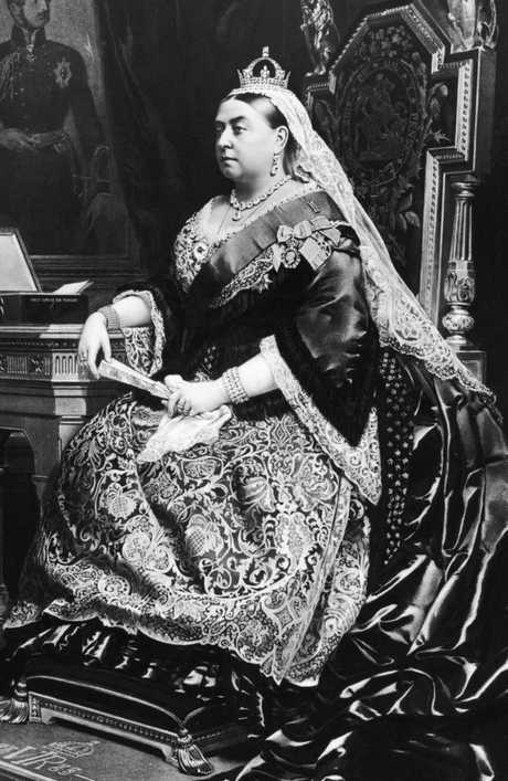 An 1883 painting of Queen Victoria. Behind her is a portrait of her deceased consort, Prince Albert. Picture: Hulton Archive/Getty Images