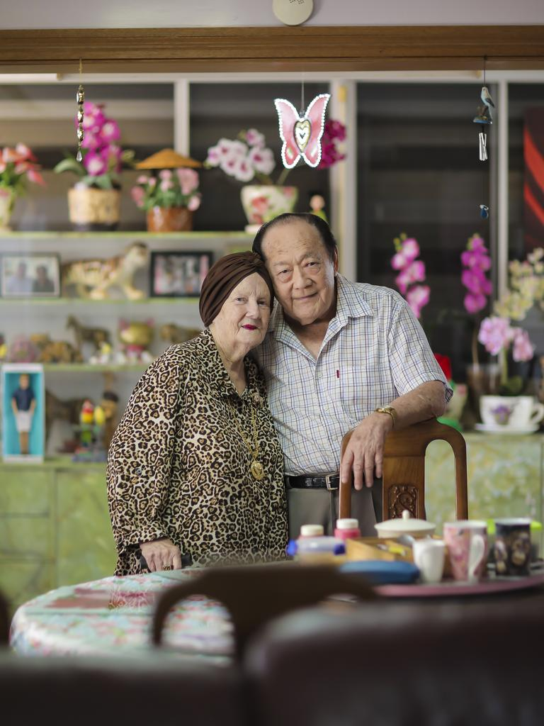 Lorna and Leonard Sue-Tin at their Boondall home. They are celebrating 71 years of marriage. Photo: Mark Cranitch.