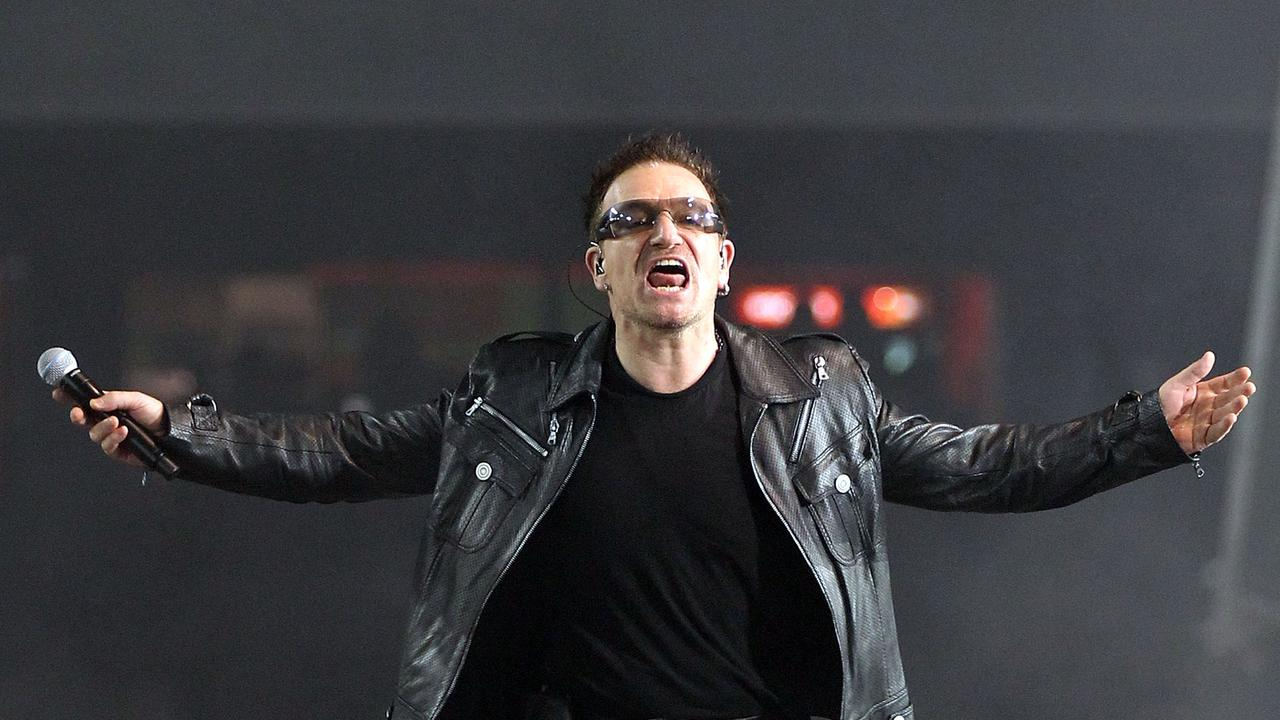 Bono of U2 performs on stage at Etihad Stadium on December 1, 2010 in Melbourne. Picture: Getty
