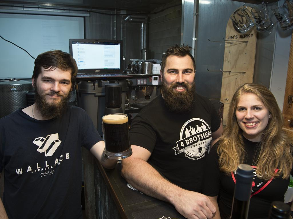 CROWD SUPPORT: Jacob Gordon (left) was one of the first to pledge support to 4 Brothers Brewings' Brother From Another Mother equity crowdfunding campaign, pictured celebrating with founder Adrian Cubit and Brittany Menzies. Picture: Kevin Farmer