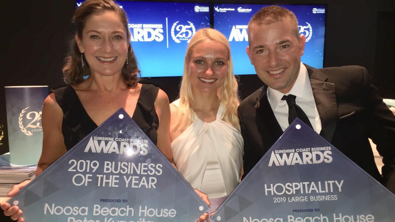 CONGRATS: Karen Kuruvita, Pawel Klodowski and Kseniia Kuznetsova from Noosa Beach House with their Sunshine Coast Business Awards. Picture: Michele Sternberg