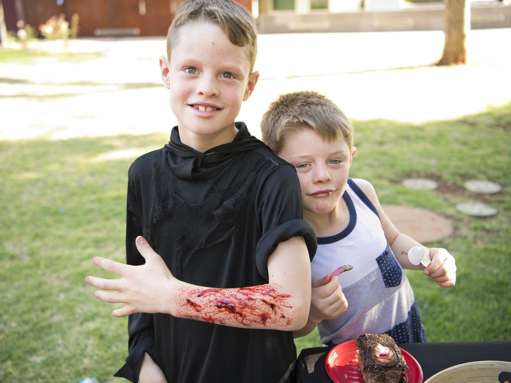 Cooper Johnson (left) and Hunter Johnson celebrate Hunter's birthday with some Halloween fun. Picture: Nev Madsen.