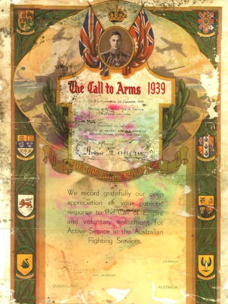 A Call to Arms: This certificate presented to Andrea Manera was found by Mackay man Doug Petersen, who hopes to return it to the Manera family.