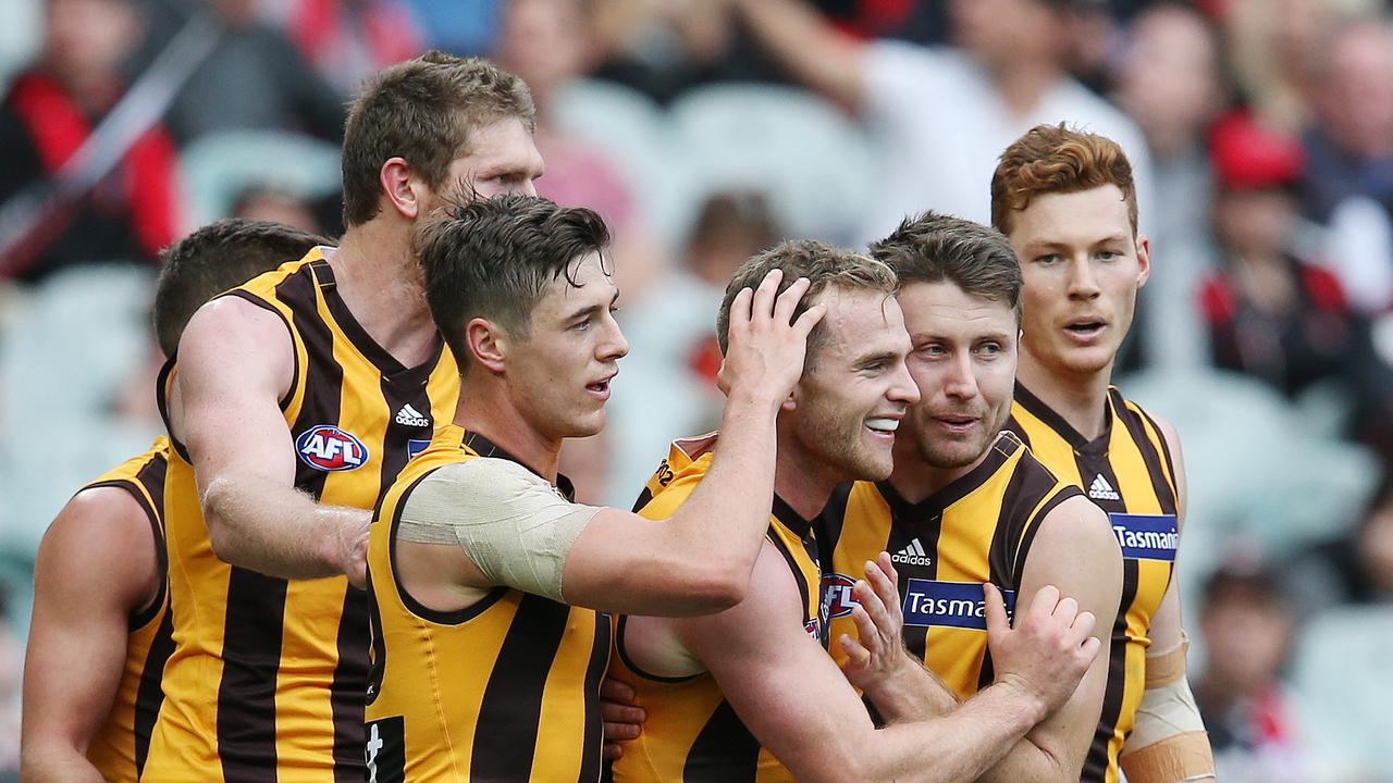 Tom Mitchell celebrates a goal during 2018 for Hawthorn. Picture: Michael Klein