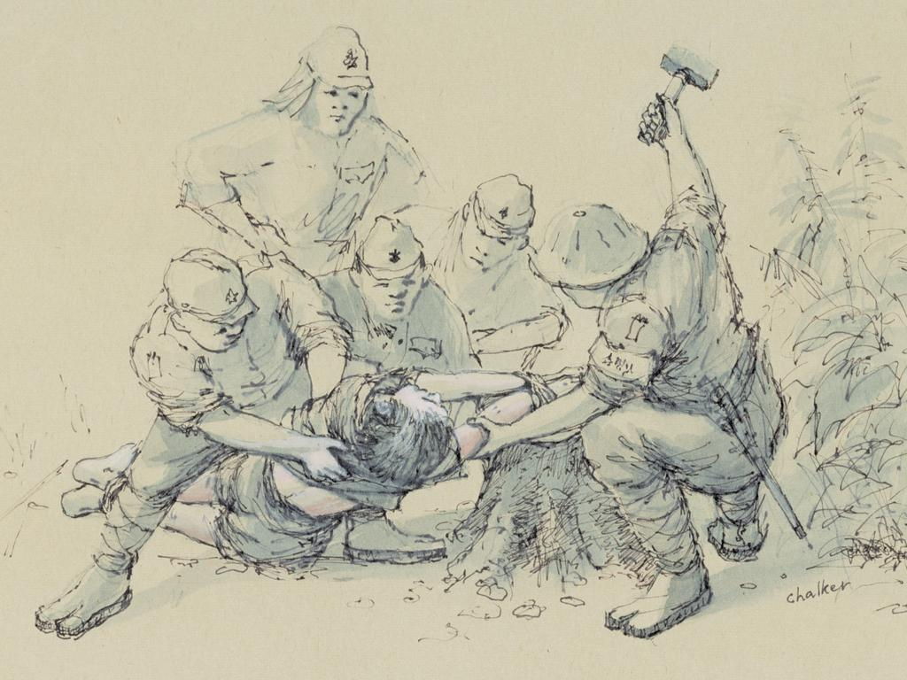 """""""Beating Hands"""". An Allied prisoner is punished by the Japanese on the Death Railway in Thailand in this sketch by former British captive Jack Chalker."""
