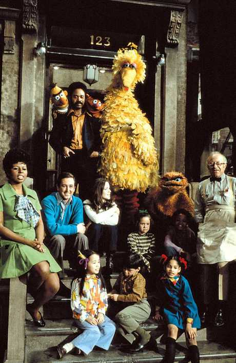 The cast of the first series of Sesame Street, which debuted in 1969.