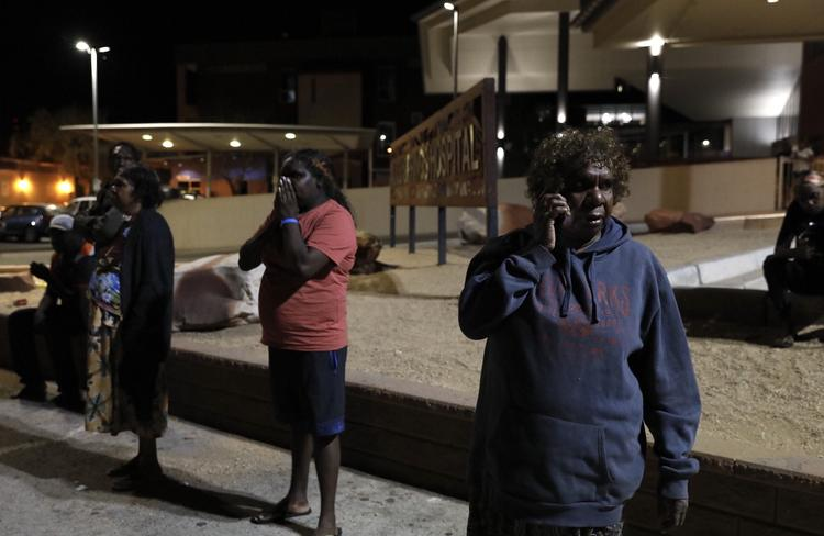 The family of a man shot in Yuendumu outside Alice Springs Hospital. Picture: Emma Murray