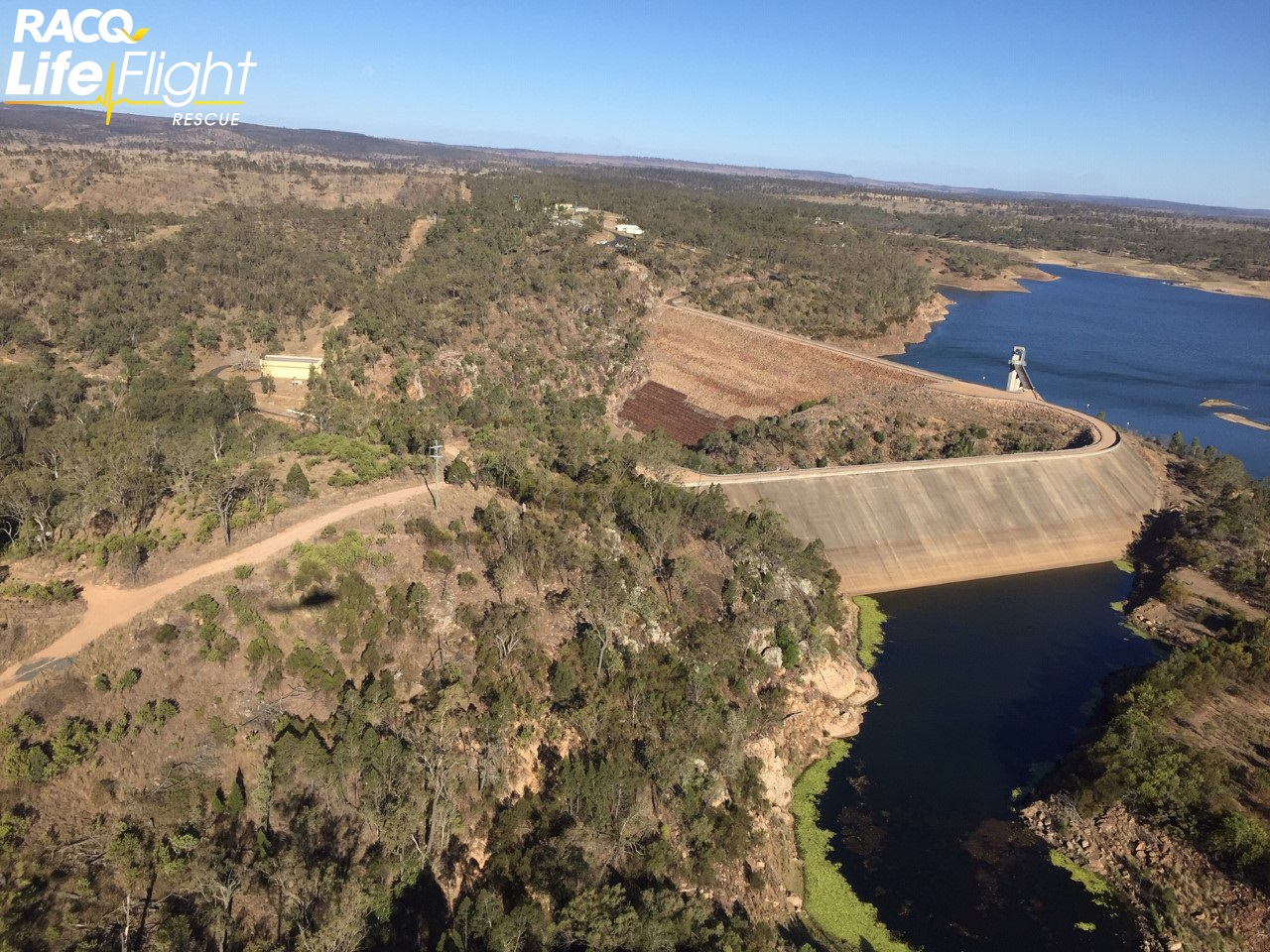 Boondooma Dam as seen from the LifeFlight helicopter service during the search.